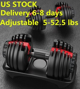 STOCK الولايات المتحدة الشحن السريع الوزن قابل للتعديل الدمبل 5-52.5lbs للياقة البدنية التدريبات الدمبل هجة قوتك وبناء العضلات