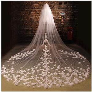 2T собор Свадебные вуалии для невест 5 м Длина 3D цветы Blusher Свадьба вуальский собор свадьба длинная 3d цветочная вуаль с расческой