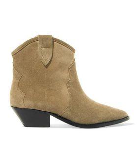 Kadınlar Gerçek Deri Yeni Isabel Dewina Süet Bilek Boots Moda Pop Marant Kovboy Çizme Batı Tarzı Ayakkabılar