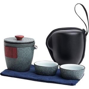 2 Style Keramik Teekanne Gaiwan mit 2 Tassen Ein Tee-Sets tragbare Reise-Tee-Set Trinkgefäße Teaware Sets
