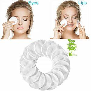 16pcs Makeup Remover Pads Reusable Velvet Bamboo Pads Make Up Facial Remover Bamboo Fiber Facial Skin Care Nursing Pads Skin Cleaning