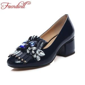FACNDINLL diseño de marca de cuero genuino de las mujeres bombas fiesta de alta calidad bombas de tacón alto moda rhinestone oficina señora zapatos de vestir