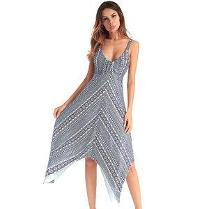 Fairy2019 Sommer und Frühling europäischen Anzug-Kleid Druck Brust wickeln zurück Kleid Leibchen unregelmäßiger Rock