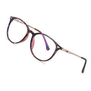 AOFLY BRAND DESIGN Round Blue Light Blocking Glasses Women Men Myopia Prescription Eyeglasses Alloy Temple Optical Eyewear Frame