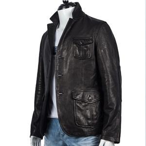 İlk katman hakiki koyun derisi erkek ceket takım elbise yaka bir düğme ile ince stil terzilik
