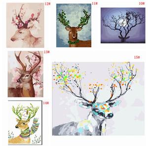 DIY Ölgemälde Verziert Tier Bild Kunst Malen Handgemalte Deer Ölgemälde Für Sofa Wanddekor Kein Rahmen 16 * 20 zoll DBC DH1495-1