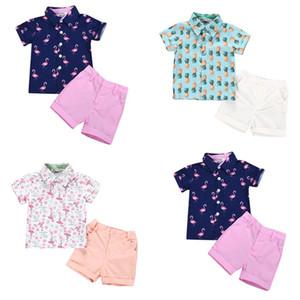 Boy Vêtements enfants Sets Estivaux Turn collier vers le bas Flamingo Imprimer Chemise à manches courtes + courtes ensembles de vêtements d'été Boy