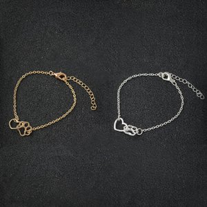 Paw and Heart Bracelet Dog Cat Paw Claw Bracelet For Women Men Fashion Simple Bracelet For Animal Lovers Pet owner