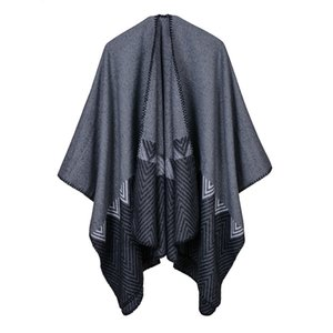 Gradient open - forked shawl European and American lengthen thickened imitation cashmere national style travel cape RS17072
