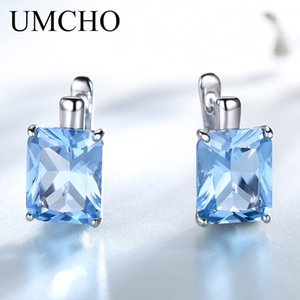 Umcho Luxury 8.0ct Sky Blue Topas Joyería Sólido 925 Pendientes de Clip de Plata Esterlina Para Las Mujeres Regalo de Cumpleaños de Moda Y19070902