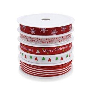 5 Rolls Christmas Grosgrain Ribbon Snowflake Tree Printed for DIY Gift Wrapping