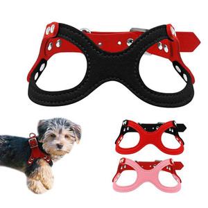 Suave gamuza de cuero pequeños mascotas arnés del perro de Yorkie cachorros Chihuahua peluche perrito de pecho del arnés ajustable para Suministros Perros