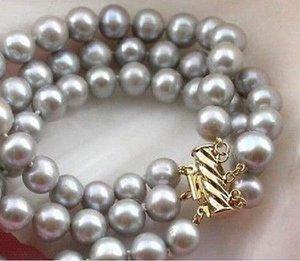 Schnelles freies Verschiffen neue echte feine Perlen-Schmucksache 3 REIHE 9-10MM GRAUES SÜDSEE-NATÜRLICHE PERLEN-ARMBAND-ARMBAND-14K-VERSCHLUSS 7,5-8 ZOLL