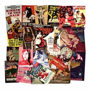 도매 46pcs / Lot 포스터 영화 빈티지 레트로 유명한 영화 포스터 스티커 스케이트 보드 노트북 노트북 수하물 여행 사건 비닐 데칼