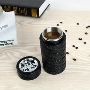연습장 타이어 타이어 컵 300ml의 크리스마스 선물 참신 자동차 바퀴 모양의 스테인레스 스틸 커피 잔 타이어 컵 타이어 모양 물은 DHL 배송 병