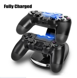 Controller Charger Dock LED Dual USB PS4 Charging Stand Station Cradle for Sony Playstation 4 PS4   PS4 Pro  PS4 Slim Controller 20pcs DHL