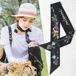 silk scarf 2018 new Tarot spring, summer, autumn and winter seasons small ribbon hair band tied bag small scarf