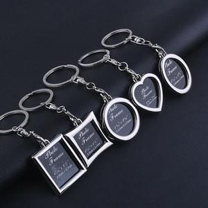 아연 합금 사진 프레임 키 체인 열쇠 고리 심장 라운드 스퀘어 스타일 클래식 스타일 12PCS / 많은 패션 열쇠 고리 키 체인