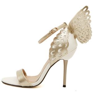 2016 Sophia Webster Kelebek kanatları Kadınlar Yüksek Topuklar Papyon Yaz Ayakkabı Sandalet Kadın Sivri Burun Bilek Kayışı Ayakkabı Pompalar