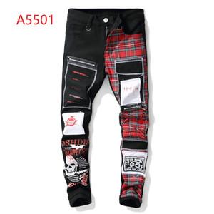Nuovi jeans mimetici nuovi abiti da uomo firmati da stilisti estivi allestiti in sella a pantaloni casual jeans hip hop con foro slim jeans in denim