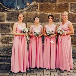 Sexy Rose Longue 2020 bridesmiad robes en mousseline de soie élégante DENTELLE Appliqued Backless Pays Pucelle d'honneur robe pas cher