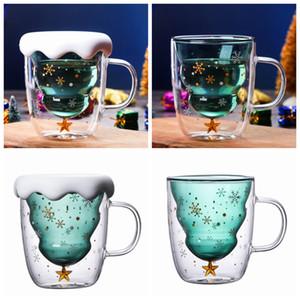 Coupe du verre d'arbre de Noël Tasse de chaleur double couche résistant à verres Petit-déjeuner Gruau Cup Bottes boire du lait tasse faite cadeau ZZA1192