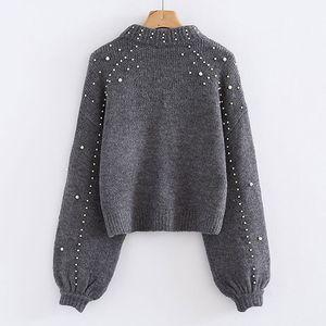 Las mujeres de cuello alto Bigsweety suéteres perla rebordear del suéter del invierno caliente del otoño mujeres de la manga de la linterna de los puentes y jalar de punto Jerseys
