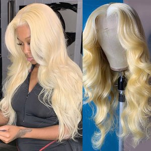 Lace Front Human Hair Wigs #613 full lace wigs with hairline blonde body Wave Brazilian Remy Hair Wigs With Baby Hair