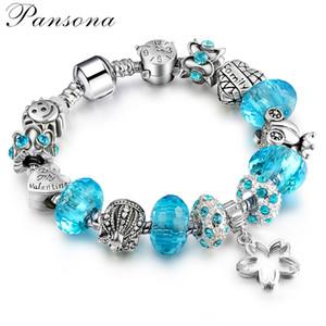 PD Womens 925 monili d'argento, braccialetto di perli Foro Grande cristallo sfaccettato Bracelet DIY SL71 libera