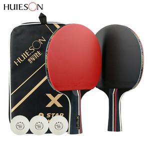 Huieson 2pcs mejorada 5 estrella Tabla carbono raqueta de tenis Conjunto Ligera Potente paleta de ping pong Palo con buen control T200410