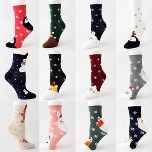 Noel Çorap Karikatür Noel Baba Elk Düz Kadın Çorap Kış çorap Ev Noel Süsleri 15Style DHL WX9-1684 Isınma