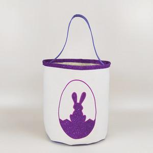 Cesti 15styles Easter Basket Easter Bunny sacchetti di immagazzinaggio Egg Candy Bucket Canvas Tote paillettes bagagli Easter Rabbit Borse GGA3189-1