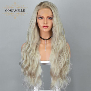 Gossamelle Ombre Blonde Wig Lace Front Wig Platinum Blonde Long Wave Synthetic Wigs For Women Cosplay Wigs With Dark Roots