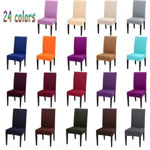 24 Renk Sandalye Kapak Spandex Stretch Elastik slipcovers Katı Renk Sandalye Odası Mutfak Düğün Ziyafet Otel Yemek İçin Kapaklar