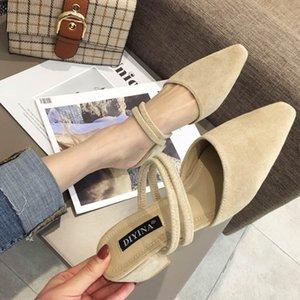 Venta caliente-2019 con grueso cuadrado pequeño Baotou Mujer Otra ropa Fideos plumosos Caucho Grado de estanqueidad Ban Tuo Zapatos de mujer solteros