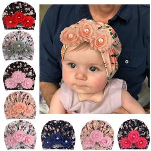 Kız bebekler Hint Şapka Bebek Güneş Çiçek İnci Çocuklar Açık hımbıl kasketleri Bebek Baskılı Kafatası Enfant Tığ Şapka 06 Caps