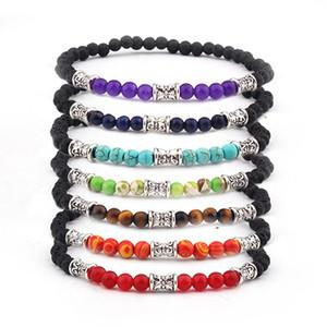 Счастливый камень бусины браслет бусины регулируемый браслет Богемия унисекс женщины чакра браслеты красивый природный камень ожерелье