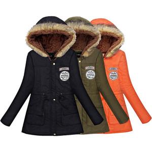 TFMLN 2019 Mulheres Primavera casaco quente do revestimento do revestimento fêmea do outono com capuz de algodão Fur Básico Casacos Magro longo das senhoras Casaco Feminino