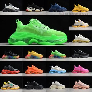 2020 New Paris Mode 17FW Triple S Chaussures Cristal Bas Tripler Bottes Pour Hommes Femmes Vert Blanc Old vintage papa Grand-père Chaussures Casual