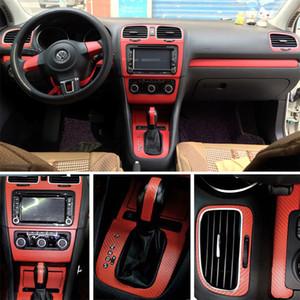 أو التصميم فولكس واجن فولكس فاجن جولف GTI 6 MK6 R20 الداخلية الوسطى لوحة التحكم مقبض الباب من ألياف الكربون ملصقات الشارات السيارة