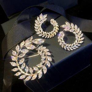 925 серебряные иглы Olive Branch Элегантные серьги серьги Женщины Европейский и американский стиль Циркон Лист Круг Брошь
