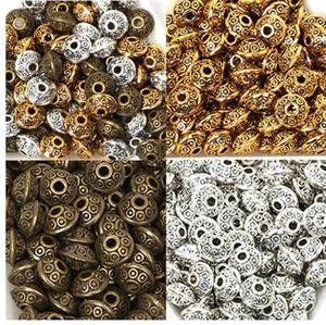 50 Teile / beutel 6mm Tibetischen Metallperlen Antikes Gold Silber Oval UFO Form Lose Distanzscheibe Korne für Schmuck Machen DIY Armband Charms