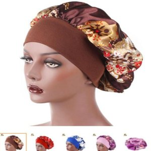 New Fshion Women Satin Night Sleep Cap Hair Bonnet Hat Silk Head Cover Wide Elastic Band Shower Cap . s639