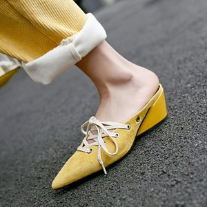2019 Summer New Suede Toe Fashion Mules Chaussures Pointu Wedge Slip Pantoufles Chaussures Femmes