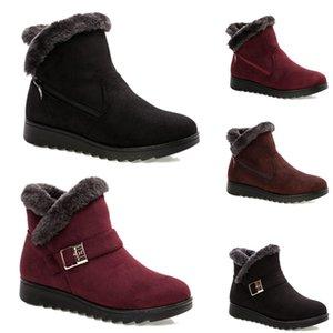 2020 No-Brand envío libre de las mujeres botas de nieve del invierno Triple Negro Vino tinto Brown botas de ante de tobillo Zapatos madre Mantenga caliente 36-40 Estilo 33