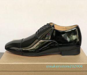 Mens inferiore rossa Dandelion Spikes scarpe di marca scarpe Greggo Orlato piatti di vernice nera in pelle di velluto Sude fannullone abito partito con scatola S06