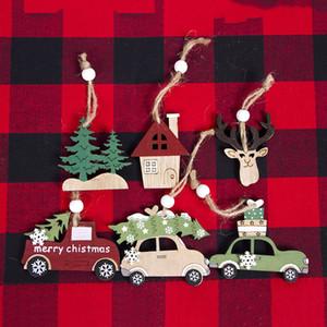 Рождественские украшения висит орнамент деревянные елки Лось автомобилей дизайн партии кулон для внутреннего декора комнаты 3 шт. Много 3 2xb E1
