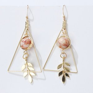Fashion Hollow Out Triangle Marble Round Beads Leaf Earrings For Woman Girls Jewelry
