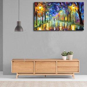 Blue Night Rain Cityscape Акварель Art Холст Плакат масло стена изображения Печати Современного дом Спальня Украшение Framework