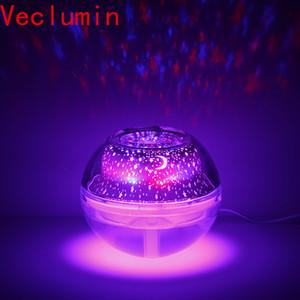 Creative LED Crystal Night Light Proyector Humidificador Difusor de aceites esenciales Aroma Lámpara USB Ambientador Fogger